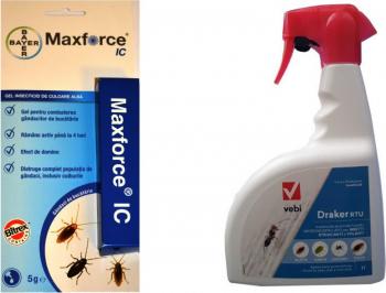 Set Insecticid Gel Bayer MaxForce IC 5 gr + Draker RTU 1 L pentru insecte gandaci de bucatarie paianjeni plosnite tantari furnici Articole antidaunatori gradina