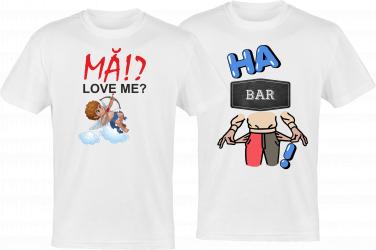 Set tricouri indragostiti colectia LOVE logo MA IUBESTI HABAR N AM din bumbac albe marimi S-2XL