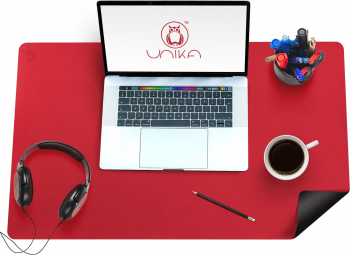 Mapa birou Flexi din piele cu doua fete pentru protectie masa Unika negru/rosu Articole si accesorii birou