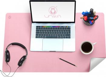 Mapa birou Flexi din piele cu doua fete pentru protectie masa Unika roz/gri Articole si accesorii birou