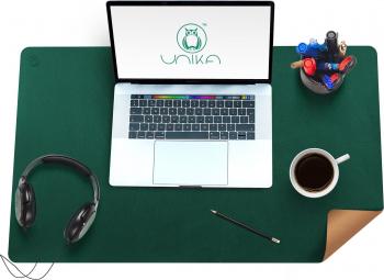 Mapa birou Flexi din piele cu doua fete pentru protectie masa Unika verde/bej Articole si accesorii birou