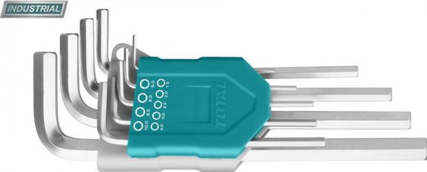 Set 9 chei imbus hexagonale 1.5-10mm Cr-V brat extra-lung INDUSTRIAL