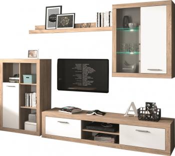 Set mobilier living Sunset Stejar Wellington/Alb Seturi mobila living