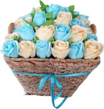 Aranjament floral premium EMR - Trandafiri de sapun Albastru/Crem 30x25 Hobby uri creative