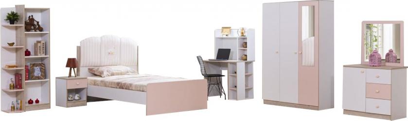 Camera tineret Candy Alpino culoare alb nuc roz 5 piese Seturi mobila dormitor