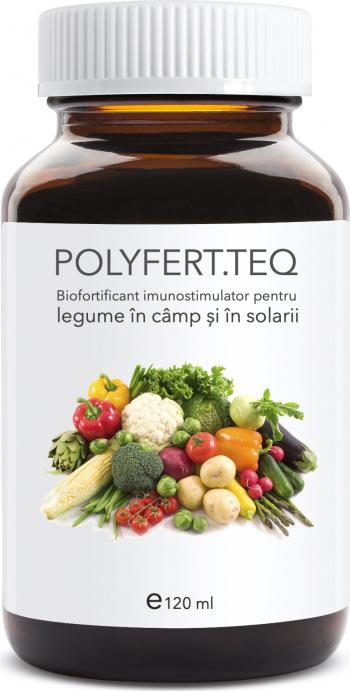 Polyfert teq 120 ml biofortificant imunostimulator pentru legume in camp si solarii arbusti si pomi fructiferi Pamant flori si ingrasaminte