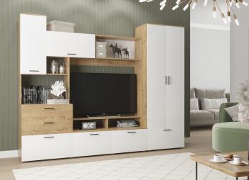Set living Dusea 250x45x199cm alb/stejar Seturi mobila living