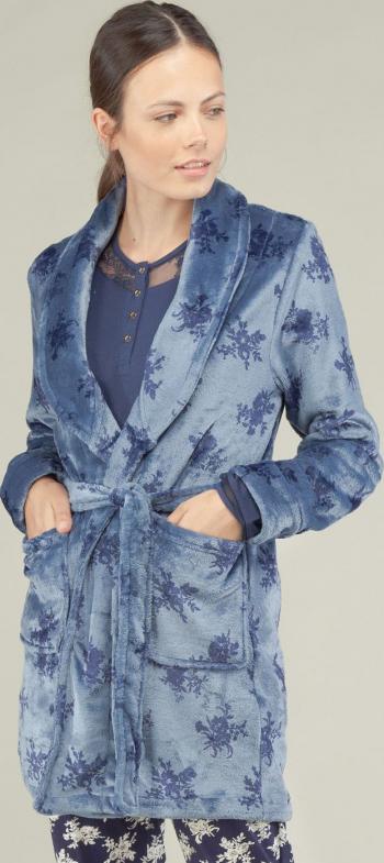Halat scurt cu model floral Azul Gisela 3/1523 - Blue 2-S Standard Halate dama
