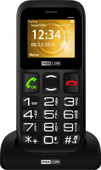 MaxCom Comfort MM426 Dual SIM Black + Stand incarcare Telefoane Mobile