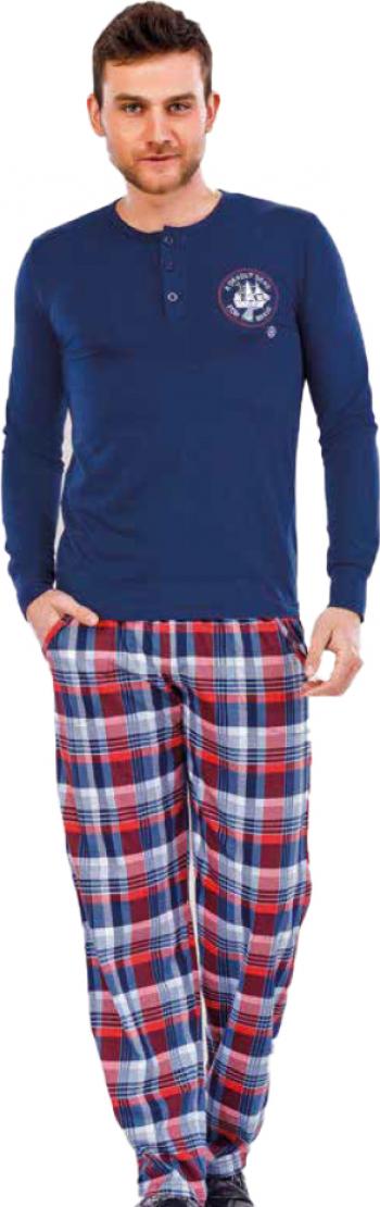 Pijama barbati maneca lunga 3715 Bleumarin M Pijamale barbati
