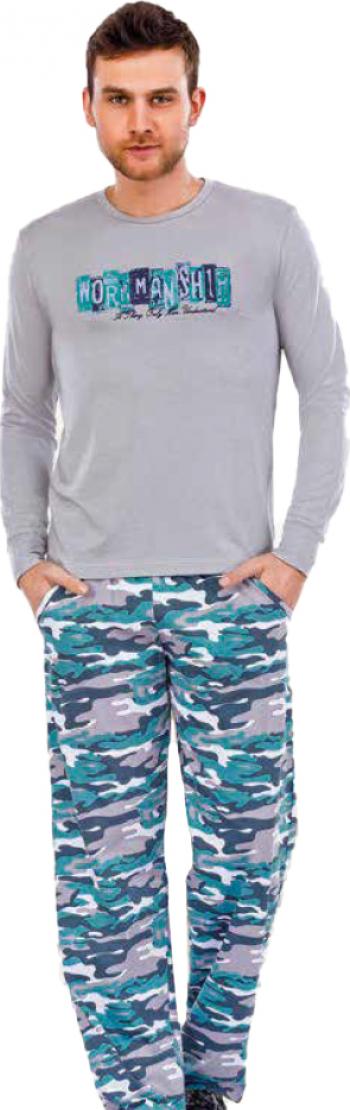 Pijama barbati maneca lunga 3720 Gri S Pijamale barbati