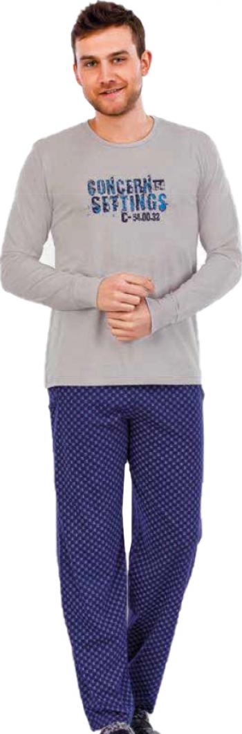 Pijama barbati maneca lunga 3722 Gri M