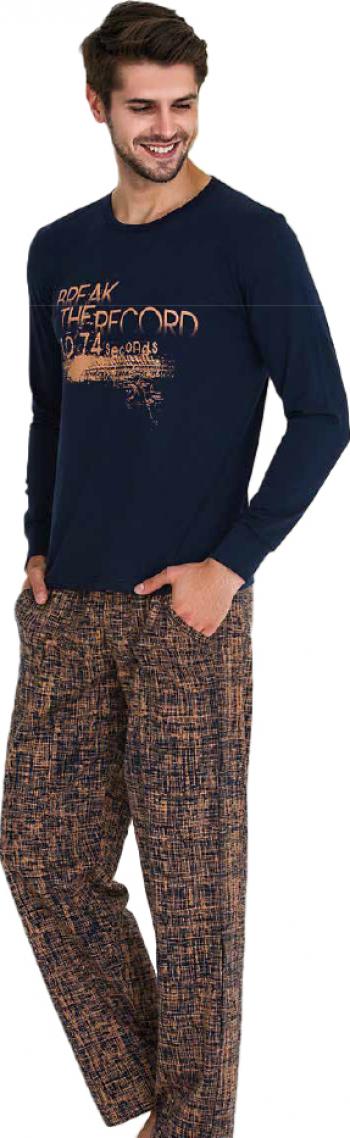 Pijama barbati maneca lunga 3732 Bleumarin M Pijamale barbati