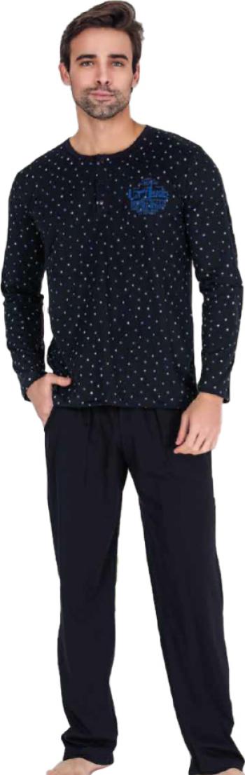 Pijama barbati maneca lunga 3813 Negru M Pijamale barbati