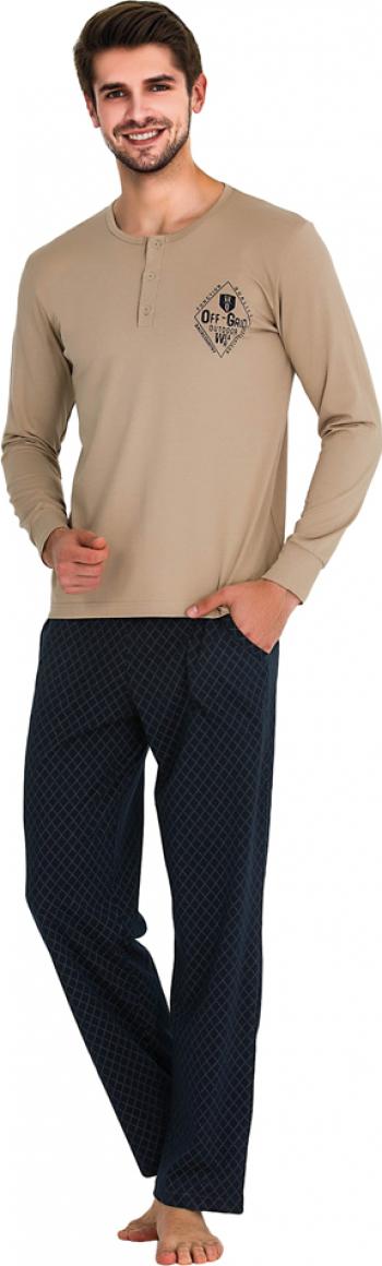 Pijama barbati maneca lunga 3743 Bej M Pijamale barbati