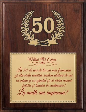 Placheta Cadou Nunta de Aur - M3 Cupe, trofee si medalii