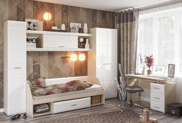 Set Dormitor Tineret Simba 1 314x58x200 Alb