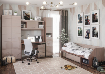 Set Dormitor Tineret Simba 2 240x58x200 Capucino