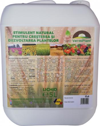 Ingrasamant natural pentru cresterea si dezvoltarea plantelor VermiPlant Lichid Universal 5 L Pamant flori si ingrasaminte