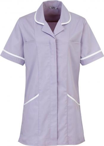 Halat de lucru pentru femei Branio cu maneca scurta marimea 4XL culoare lila cu insertii albe in contrast Halate dama