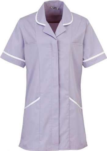 Halat de lucru pentru femei Branio cu maneca scurta marimea M culoare lila cu insertii albe in contrast Halate dama