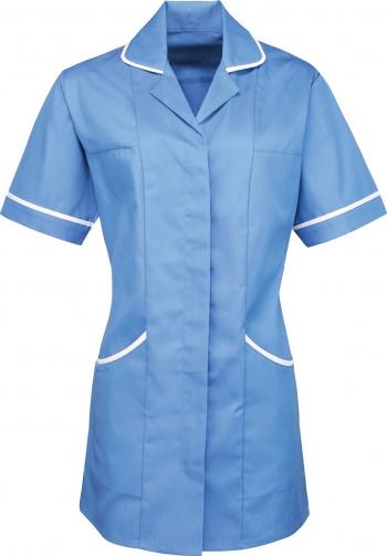 Halat de lucru pentru femei Branio cu maneca scurta marimea 5XL culoare bleu cu insertii albe in contrast Halate dama