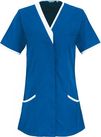 Halat de lucru pentru femei Branio cu maneca scurta marimea 5XL culoarea albastru cu insertii albe in contrast