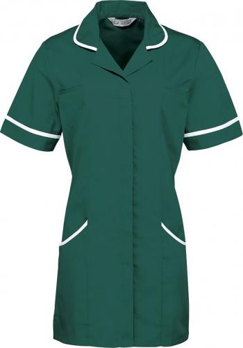 Halat de lucru pentru femei Branio cu maneca scurta marimea XL verde cu insertii albe in contrast Halate dama