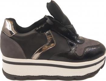 Pantofi sport dama cu platforma negri cu gri-39