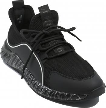 Sneakers Otter negru cu alb din material textil tricotat-39 EU