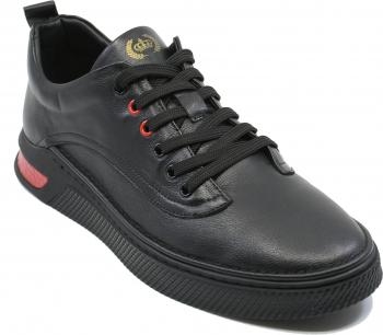 Pantofi sport Franco Gerardo negri din piele naturala-44 EU
