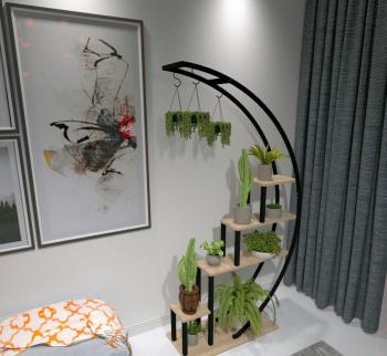 Suport flori din lemn si metal bej - negru H180cm x L85cm x l35cm Seturi mobila living