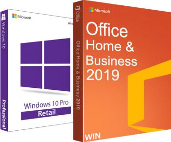 Windows 10 Pro + Office Home and Business 2019 - Retail permanente - 3264 biti + video tutorial  asistenta Sisteme de operare