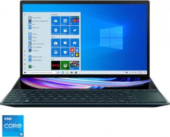 Ultrabook ASUS ZenBook Duo 14 UX482EG Intel Core (11th Gen) i5-1135G7 512GB SSD 8GB MX450 2GB FullHD Win10 Pro T.il. Celestial Blue