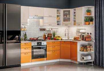 Set bucatarie pe colt Viola Elada MDF 245x155x215cm portocaliu