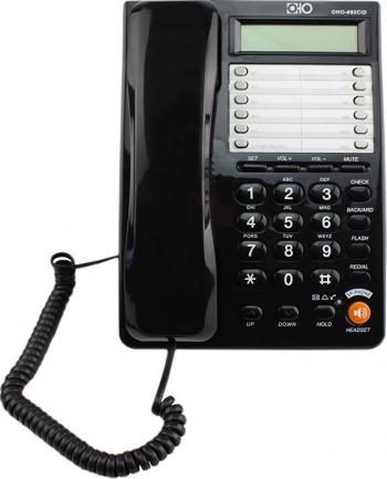 Telefon fix pentru birou ecran LCD handsfree reapelare calculator incorporat sistem dual FSK/DTMF negru Telefoane