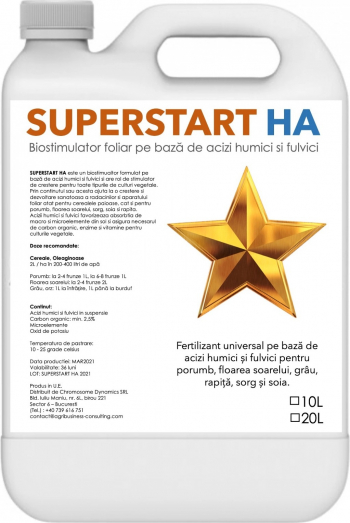Superstart HA 10L - Biostimulator foliar pe baza de acizi humici si fulvici pentru toate tipurile de culturi vegetale Pamant flori si ingrasaminte