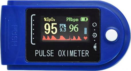 Pulsoximetru Iso Trade indica nivelul de saturatie a oxigenului din sange masoara rata pulsului albastru cu alb
