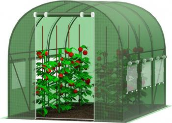 Sera tunel solar pentru gradina cu folie verde structura solida din otel zincat 5x 2.5 m 12.5 MP Sere si Solarii