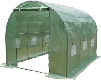 Sera tunel solar pentru gradina folie verde 2x 4.5m 9 mp structura solida din otel zincat