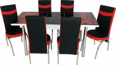 Set masa extensibila Amaryllis Negru-Rosu cu 6 scaune Negru-Rosu Seturi mobila bucatarie