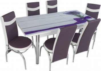 Set masa extensibila Lavanda cu 6 scaune Mov-ALb
