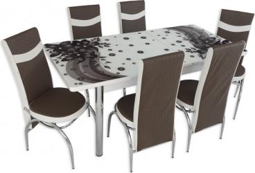 Set masa extensibila Amaryllis Brown cu 6 scaune Maro-Alb Seturi mobila bucatarie