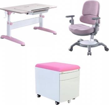 Set birou pentru copii reglabil SingBee culoare roz Birouri copii