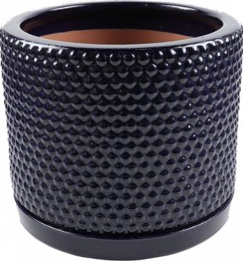 Ghiveci ceramic cu suport albastru rotund 30 x 25 cm