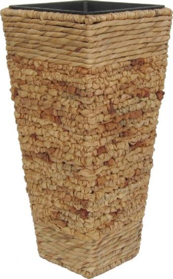 Ghiveci din lemn si plastic maro 28 x 28 x 60 cm