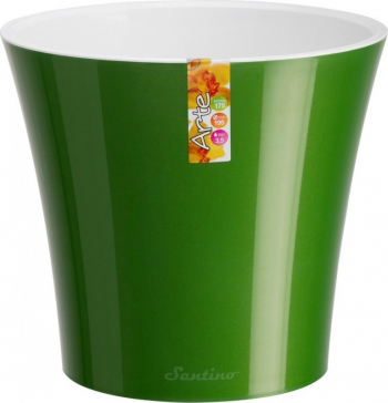 Ghiveci din plastic cu sistem de autoudare verde-alb 5 l D 22 cm