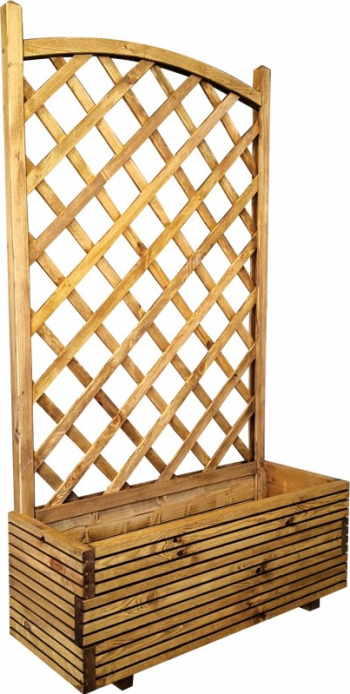 Jardiniera lemn cu suport plante natur 90 x 34 x 150 cm Ghivece si suporturi
