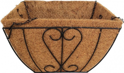 Cos suspendat pentru flori maro metal + fibra cocos 35 x 35 x 20 cm Ghivece si suporturi