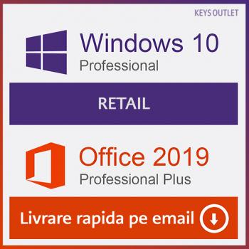 Windows 10 Pro Retail + Office 2019 Pro Plus Licenta Permanenta Aplicatii desktop